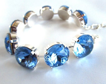 Blue Rhinestone Bracelet, Sky Blue Crystal Bracelet, Blue Crystal Jewelry, Blue Wedding Bracelet, Ocean Blue Bracelet, Something Blue, Bride