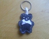 Tiny Denim Teddy - Keychain/Keyring - Bag Charm - Miniature - Recycled - Handcrafted - Blue - Cupid and Psyche