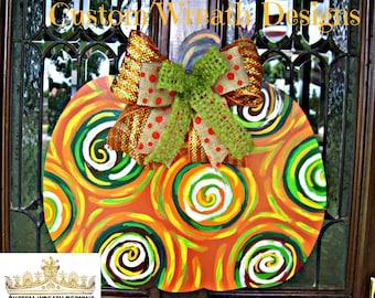 Pumpkin door hanger, fall decor, Halloween decor, Halloween hanger, thanksgiving hanger, pumpkin decor,