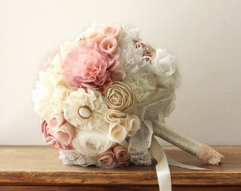 Wedding Bouquet Blush Bridal Peach Flower Vintage
