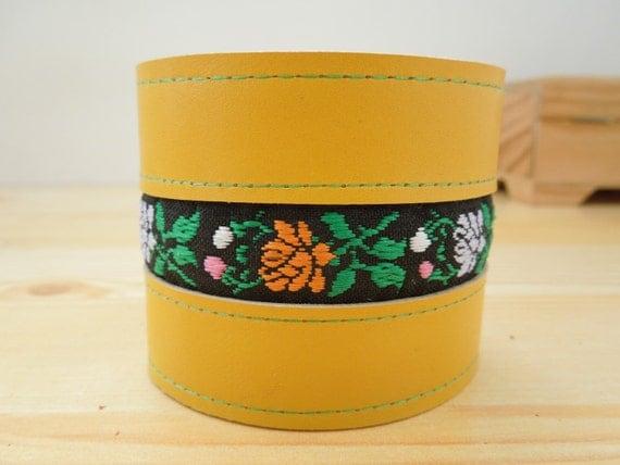 Leather cuff, yellow leather cuff, yellow cuff, leather bracelet, yellow bracelet, flowers cuff, ribbon cuff, summer bracelet,wide cuff