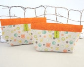 Makeup Bag, Purse Accessory, Notions Pouch: Buttons & Pins, Chartreuse Orange Teal Black