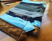 NECKTIE CLUTCH Purse - Blues and Golds - Uniquely Made From Neckties