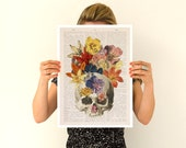 Flowers on skull Poster, A3 poster, anatomical art, Skull anatomy art, Wall art, anatomy art, Giclee poster, Flowers anatomy poster PSK016