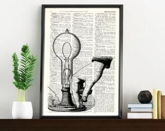 Vintage Book Print Dictionary or Encyclopedia Page Print- Book print Invention Lampon Vintage Book art BPTV082