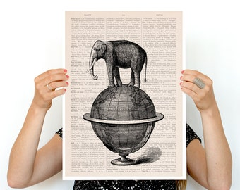 The elephant takes a walk poster , A3 Poster,Elephant poster ,Eco friendly wall art,World map poster, Giclee elephant poster PAN093