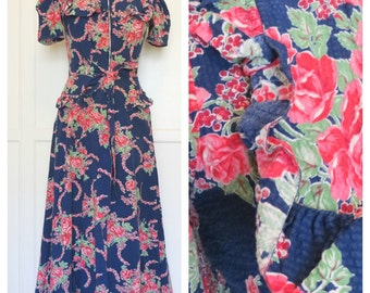 Vintage 40s Floor Length Cotton Seersucker Floral Dress with Ruffles Short Sleeved Garden Party Womens Size X-Small Small