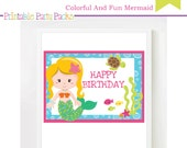 Instant Download Printable Colorful And Fun Mermaid Birthday Party Signs