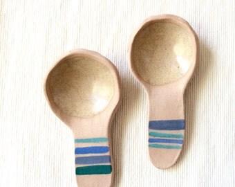 Super-Stripey ceramic spoons