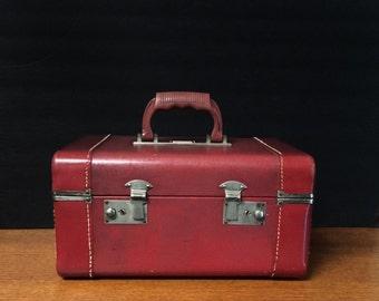 Vintage Art Deco Crown Luggage Burgundy Train Case