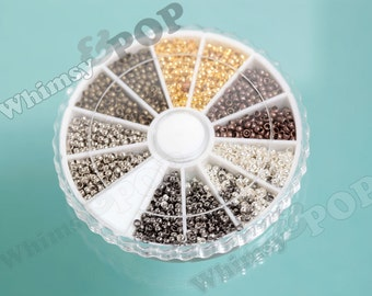 1 -  Brass Variety Case Mixed Tube Pinch Crimp End Beads,  Tube Crimp End Beads, 2mm Mixed Beads, 3000 Crimp Beads / Wheel (C1-10)