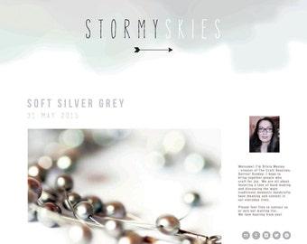 Premade Modern Watercolor Pastel Blog Header - Grey Minimalist Design