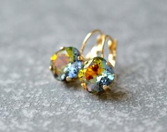 Sun Earth Sky Rainbow Earrings Swarovski Crystal Rare Rainbow Leverback Drop Square Stud Earrings Rounded Square Mashugana