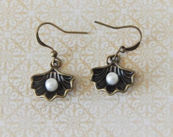 antique bronze oyster shell earrings with pearl centers, dangling pierced earrings, matching locket also available