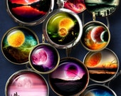"""Sci-Fi Space I - Digital Collage Sheets, Astronomy Digital Downloads - 1.5"""", 1.25"""", 30mm, 1"""", 25mm circles for jewelry, bottle caps - CG-918"""