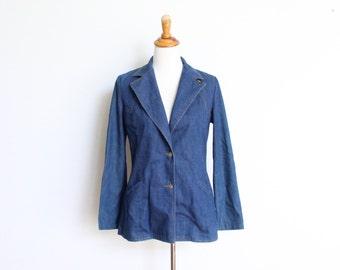 Vintage Lady Lee Denim Jean Jacket Womens 13 / 14 Trucker Distressed Made In USA Sports Coat Suit Jacket Blazer Country Western