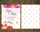 Watercolor Garden Save The Date | Pink, Ultra Thick Paper, Floral, Wedding Invitation, Invitation Set, Calligraphy, Custom Invitation