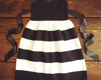 Black and White dress Striped formal dress by ChloeBellBoutique