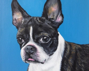 boston terrier portrait 12x12 custom dog art painting on canvas personalized gift