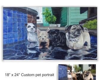 "custom painting from photo, pet portrait hand painted 18"" x 24"" four dogs wall art"