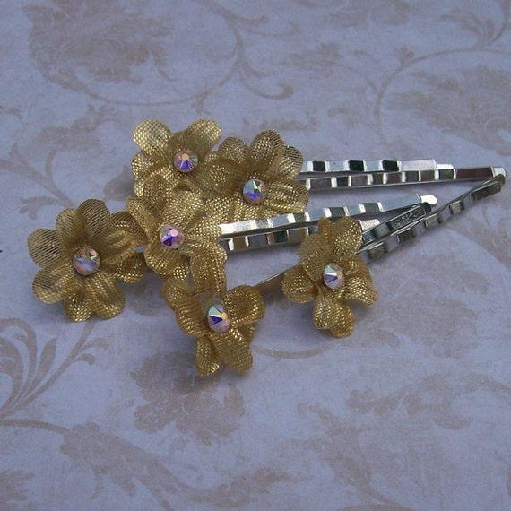 Metallic Gold Mini Flower Hair Pins with AB Aurora Borealis Swarovski Rhinestone Centers Set of Six