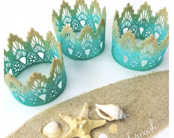 Ready to Ship || Beach Babe lace crowns || sand + sparkle dipped  || photography prop || mermaid ||headband option|| waterproof