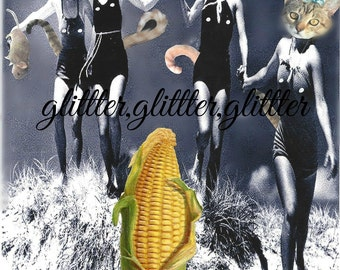 Kitties of the Corn, altered art/collage, 8x10 print