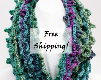 Infinity Scarf Extra Long Hand Crocheted Soft Greens and Purples
