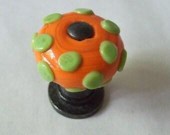 Orange Polka Dot Knob