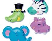 Cupcake Topper, 12 Zoo Animals Cupcake Topper Ring, Cupcake Pick, Safari Jungle Party, Baby Shower, BoysBirthday, Wild Animal, Baking Supply