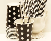 Paper Cups, 8 Black Polka Dot Paper Cups, Party Drink Cups, Black Paper Cups, Weddings, Graduations, Birthday, Ladybug Party, Disposable