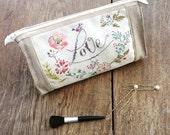Cosmetic bag, makeup bag, linen toilet bag, handembroidered beauty bag