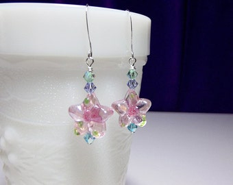 Pink Flower Lampwork and Crystal Earrings, Mothers Day Gift, Mom Sister Grandmother Bridesmaid Jewelry Gift,