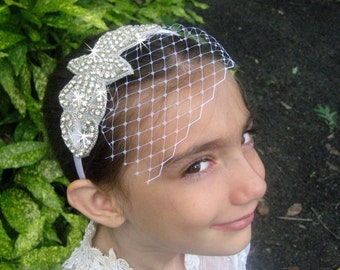 Rhinestone Flower Girl Headband ..  Bridesmaid Hair Accessory .. Birdcage Veil .. Bridal Rhinestone Headband