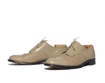 11.5 D | Stacy Adams Basketweave Cap Toe Oxfords in Stone Color Leather