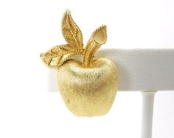 Vintage 1974 Avon Gilded Apple Pin, 1970s Brushed Goldtone Apple Brooch, Golden Apple for Teachers