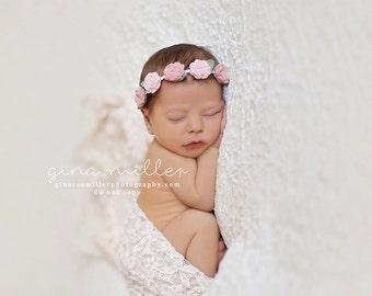 Shades of Vintage Pinks-  Rosebud Garland Headband - Wool Felt Flower Headband- Shabby Chic Wedding Flower Girl Headband