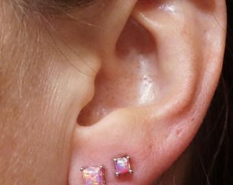 Square Pink Fire Opal Post Earrings