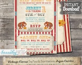 Vintage Circus Invitation - INSTANT DOWNLOAD - Aqua Combo Printable Birthday Invitation by Sassaby