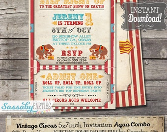 Vintage Circus Invitation - INSTANT DOWNLOAD - Partially Editable & Printable Aqua Carnival, Elephant, Sideshow, Ticket Birthday Invite