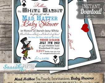 Mad Hatter Baby Shower Invitation - INSTANT DOWNLOAD - Editable & Printable Alice in Wonderland Tea Party Invite file by Sassaby Parties