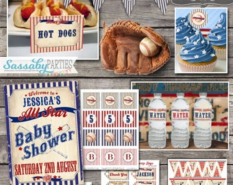 Vintage Baseball Baby Shower Party Collection - INSTANT DOWNLOAD - partially Editable & Printable Party Invite, Invitation, Banner, Decor