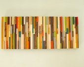 "Mid Century wood art, Large wood wall art, 2015 colour trends, 16"" x 72"""