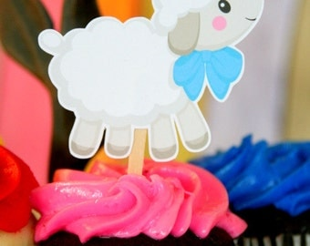 Little Lamb Baby Shower Cupcake Toppers Set of 12