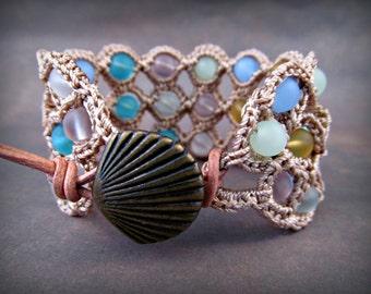Bohemian Cuff Bracelet, Boho Beach Jewelry, Seaglass Jewelry, Bohemian Ocean Nautical