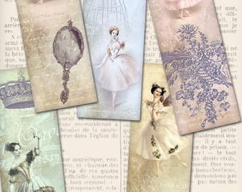 Ballet Bookmarks printable reading gift crafting craft hobby art journal instant download digital collage sheet - VDBMSC1031