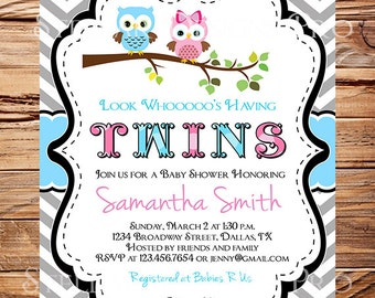Owl Baby Shower Invitation, Twins Baby Shower, Twins, Boy, Girl, Chevron Stripes, Blue, Pink, Black, Gray, Twins, Owls Baby Shower, 1457