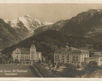 Mountain Scene in Switzerland showing 2 hotels Savory & National Interlaken Black and White Real Photograph Postcard RPPC
