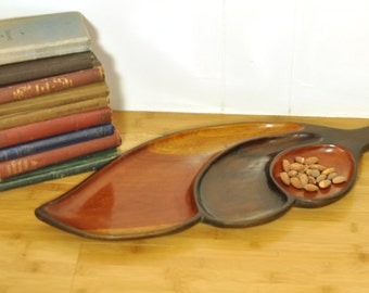 Large Vintage Serving Tray Masculine Decor Wooden Leaf Plate Three Section Two Tone MidCentury Earthy Hipster Candy Coin Dish Centerpiece