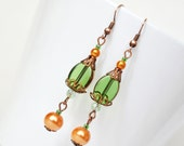 Copper gold and green affordable dangle earrings, green drops, autumn fall earrings, dangling earrings, woodland jewelry, eco friendly gift